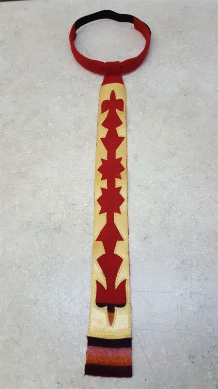 RED 8 BAND WOOL BROADCLOTH WATERBIRD RIBBONWORK NATIVE AMERICAN INDIAN NECKTIE