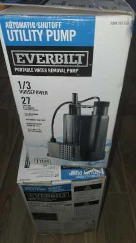 Everbilt submersible EBAU33 1/3 HP Automatic Utility Pump 2.0 amps 1004 181 630