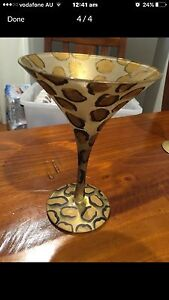 Martini Glass with recipe on base for leopardtini $5 Junction Village Casey Area Preview