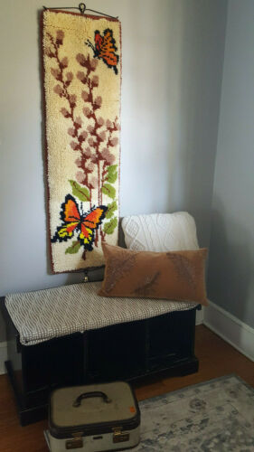 "Vtg. 70s Latch Hook Rug Wall Hanging w Butterflies, 48"" X 15"", Retro Decor, Exc."