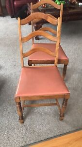4 Solid Maple ladder back chairs