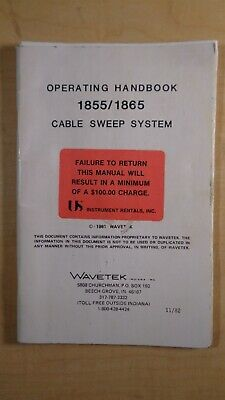 Wavetek Operating Handbook 18551865 Cable Sweep System Manual 8e B8