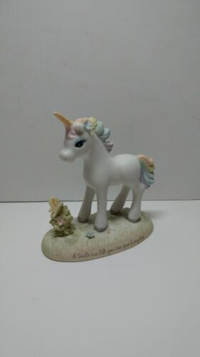 ENESCO porcelain unicorn figurine 1984  A smile is a gift you can give everyday