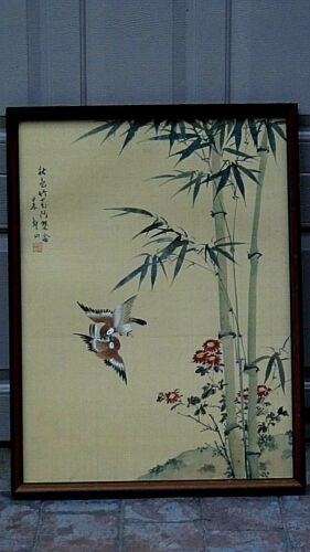 ANTIQUE CHINESE WATERCOLOR ON SILK ORIGINAL PAINTING OF BIRDS AND BAMBOO,SIGNED.