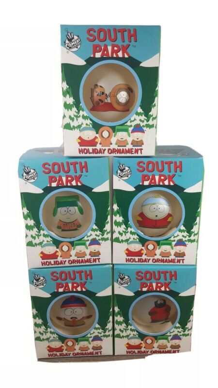 Lot of 5 South Park Christmas Glass 1988 Ornaments Cartman,Chef,Kenny,Stan,Kyle
