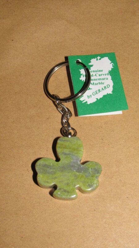 Genuine Connemara Marble Shamrock Keychain Guaranteed Irish