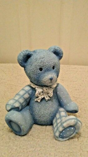 "Roman Inc. ""Baby Blue Bear Bank"" Cute and Cuddly 6 1/2"" Tall Durable EUC"