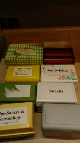 Lot of Poly recipe card containers and assembled cutout Recipe Cards