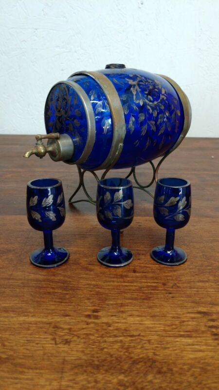 Antique Barrel Decanter Cobalt Blue Glass