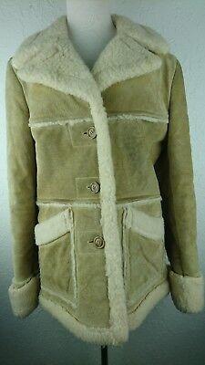 Vintage Women Size 12 JC Penny Suede Leather Coat Sherpa Lined Western Rancher