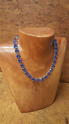 Vintage to Antique Art Deco Sterling Silver Bezel Blue Crystal Necklace Choker