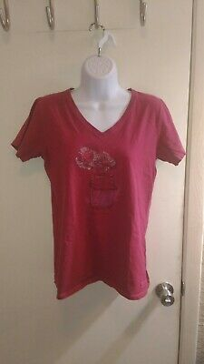 Life Is Good Crusher Woman's Tee Floral Half Full V-Neck Red Medium T-Shirt