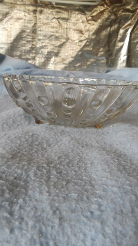 Vintage Anchor Hocking Clear Boopie Bubble Pattern Footed Serving Bowl