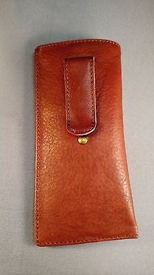 Eyeglass / Glasses Case - Top grain Calf antique brown leather w/ riveted clip ()
