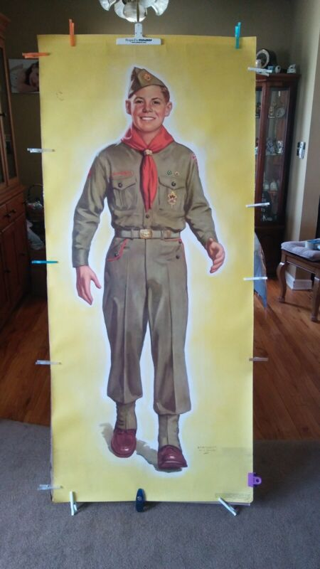 VINTAGE FULL SIZE LITHOGRAP OF BOY SCOUTS BY LAWRENCE WILBUR