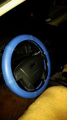 Lenkrad Bezug Lenkradschoner echtes Leder blau für Lenkräder von 37 - 39 cm
