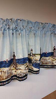 nautical curtains - nautical lighthouse blue valance curtain