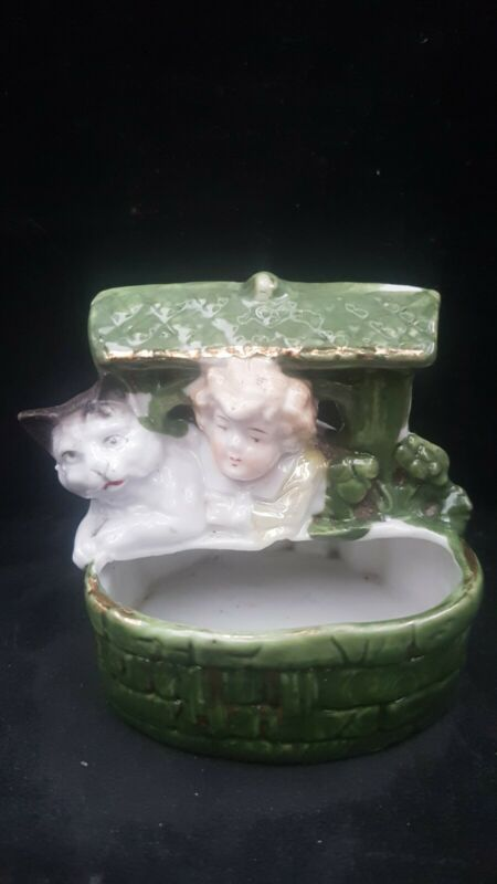 """MINT VICTORIAN GERMAN LIKE PIG FAIRING BUT MORE RARE """"A CAT WITH A CHILD IN WELL"""