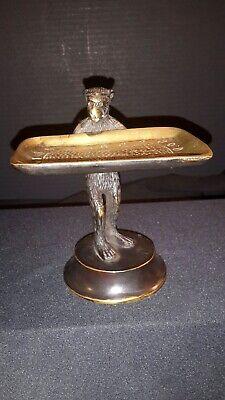 Vintage Brass Monkey Business Card Holder or Soap Dish Monkey Card Holder
