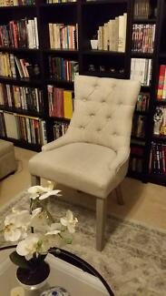 NEW French Provincial Beige Linen Buttoned Accent Dining Chair