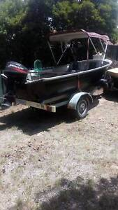 4.1 tinnie. Outboard, oars, life jackets and trailer also bimini