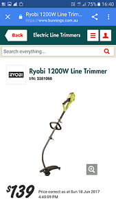 Ryobi 1200W Line Trimmer Hendra Brisbane North East Preview