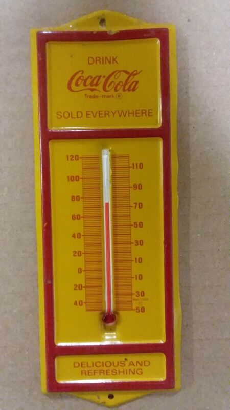 Rare Coca Cola Thermometer 6.5 Inches Long Tin Yellow In Color