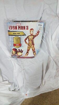 Marvel Iron Man 3 Halloween Costume Size Child Large 12-14 w/ Body Suit and Mask