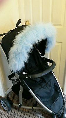 Pushchair blue faux fur Hood Trim, fits any hood Cybex Mamas & Papas Baby jogger