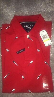 Nautica Shirt Medium Size Classic Fit Oar Print Red