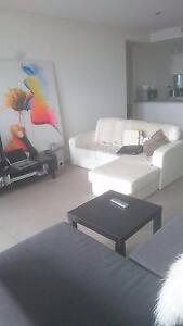 White leather 3 seater lounge / sofa with chaise Drummoyne Canada Bay Area Preview