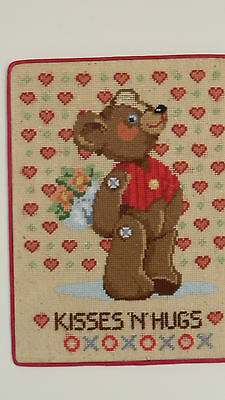 (Completed Needlepoint KISSES 'N' HUGS Teddy Bear Baby Nursery - JCA 9x12 New)