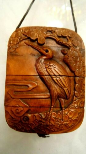 Hand Carved Japanese Inro Box With Ornate Carves Birds Cranes Netsuke Signed