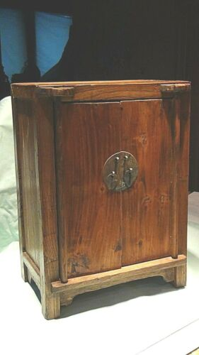 ANTIQUE 19c CHINESE WOOD CARVED 2 DOOR ,ONE DRAWER & 2 SHELVES CABINET