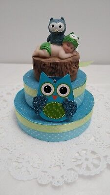 OWL BABY SHOWER BIRTHDAY CAKE TOPPER DECORATION FAVOR FIGURINE