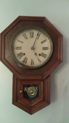 Vintage 8 Day A Week Regulator Wall Clock Clockmaker's Union 8 Day Spring Clock