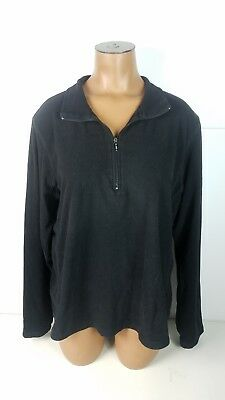 Gap Pullover Jacket Half Zip Long Sleeve Light Weight Black Womens Sz XL Half Zip Lightweight Pullover