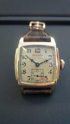 Vintage Hamilton Scott 10k gold filled BLACK ENAMEL DIAL serviced ()