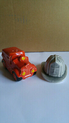 Fire Engine & Fire Hat Ceramic Salt & Pepper Shaker Set - 1985 Fire Salt Shaker
