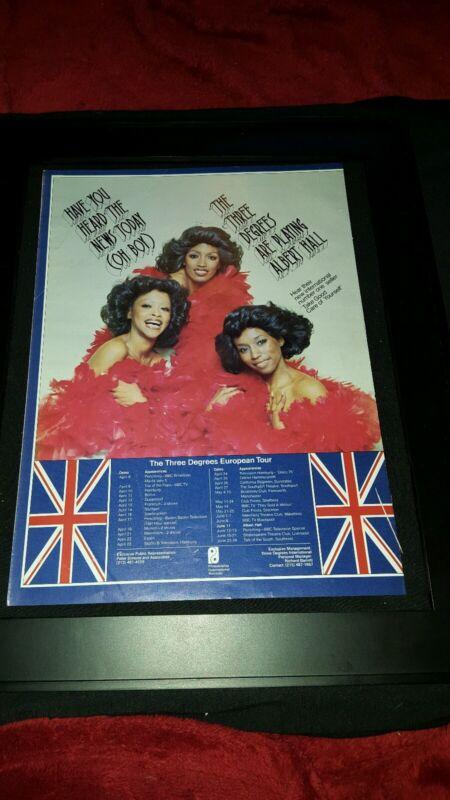 The Three Degrees Rare Original U.K European Tour Promo Poster Ad Framed!