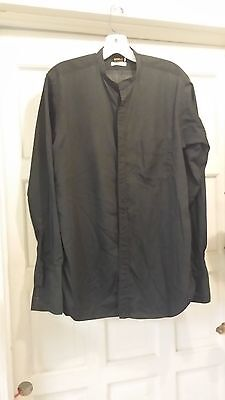 LITURGICAL CLERICAL NECKBAND SHIRT FRENCH CUFFS BLACK LS 15/33 M H PIERCE & CO