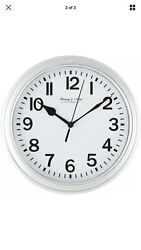 Mainstays Sterling & Noble Clock Company Analog Wall Clock Silver w AA Battery