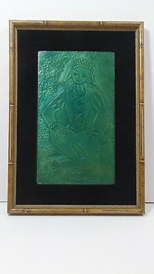 Vintage Signed Millie Crutchfield Enamel Copper Art Figure Framed 50S 60S