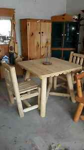 Hand made kitchen table and 2 chairs