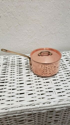 VINTAGE 1 QUART COPPER HEAVY WEIGHT SAUCEPAN WITH LID USED