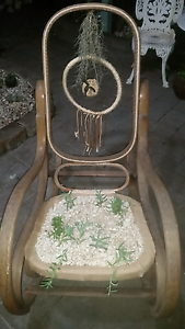 Gorgeous old wooden rocking chair with succulents Eleebana Lake Macquarie Area Preview