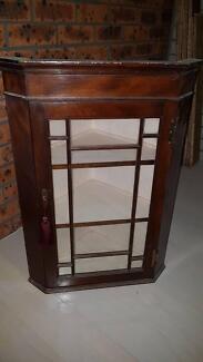 Antique English Mahogany Hanging Corner Cabinet