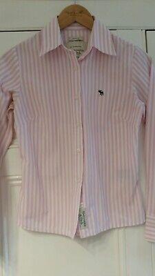 Abercrombie & Fitch Striped Pink & White Shirt, Size XS (UK 6), VGC