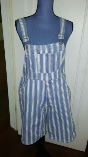 GAP Denim Blue and White Striped Overall Shorts size XL