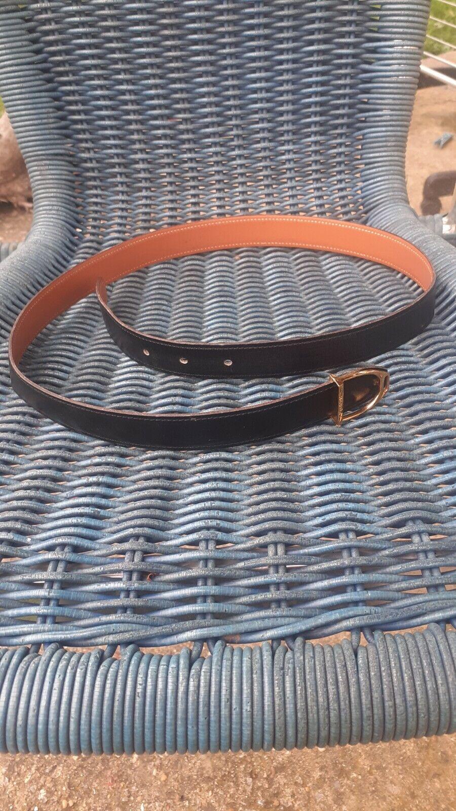 Hermes ceinture reversible cuir noir beige 95 cm